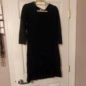 🌑 Calvin Klein Black Pleated Sweater Dress Med